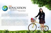 扶自行车的学生PSD分层素材
