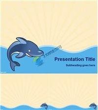 矢量卡通鲸鱼海浪ppt模板下载