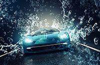 蓝色跑车创意气泡图片