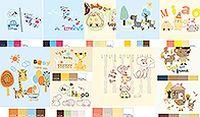 卡通动物插画配色卡矢量素材