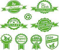 绿色天然产品标签矢量素材