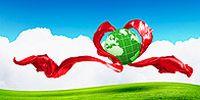 绿色草坪红色丝带图片