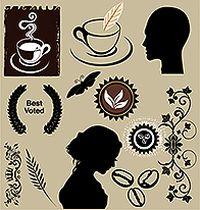 简洁咖啡元素标签矢量素材
