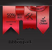 红色丝带标签设计矢量素材