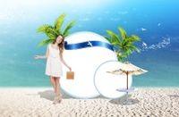 沙滩美女PSD空白广告牌