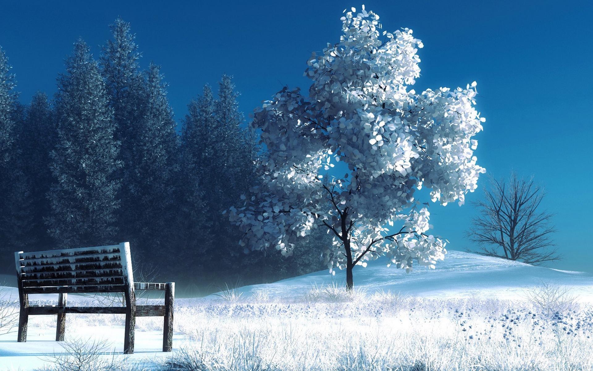 孤独的长椅唯美风景壁纸桌面