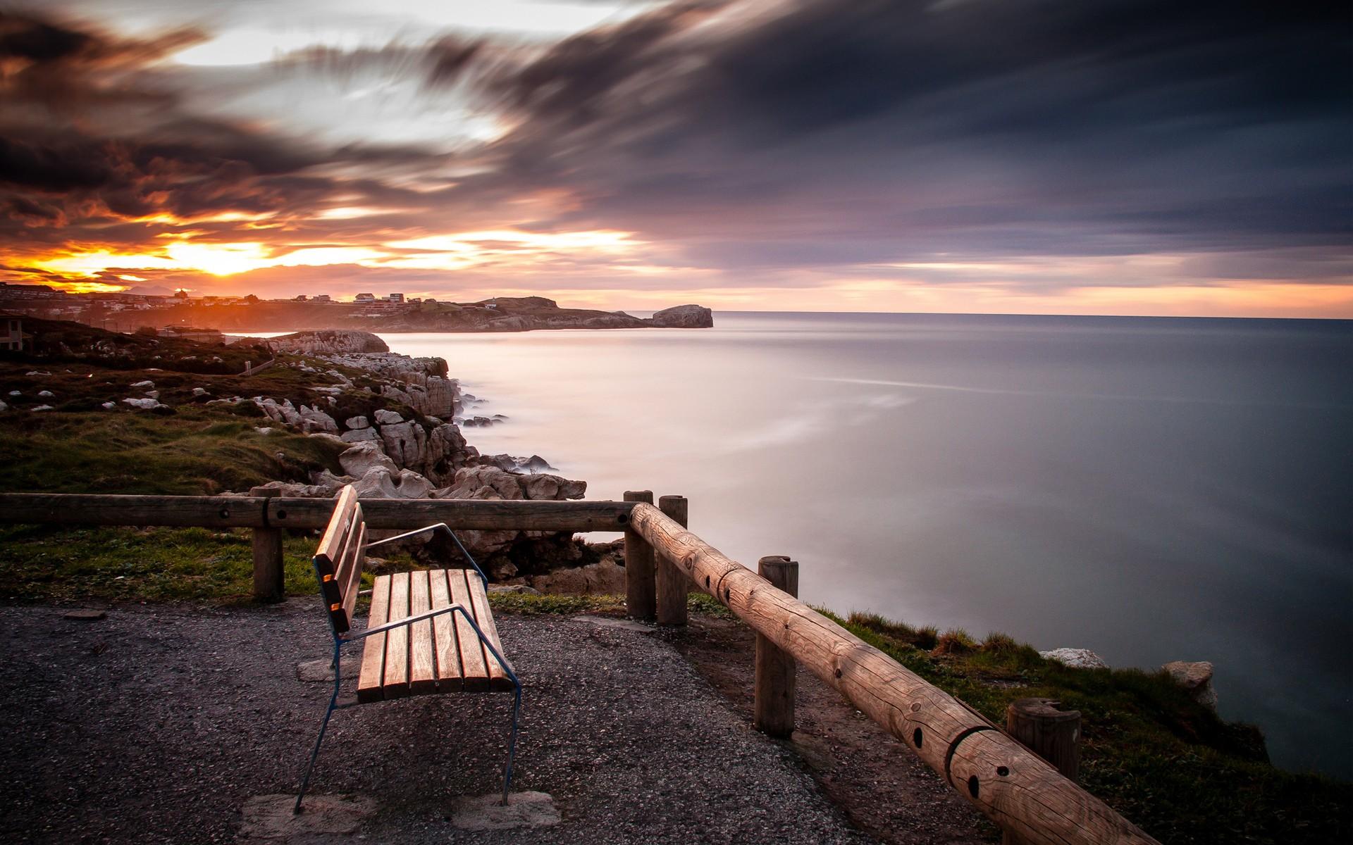孤独的长椅唯美风景桌面壁纸高清