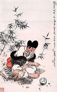 济公逗蟋蟀水墨画图片