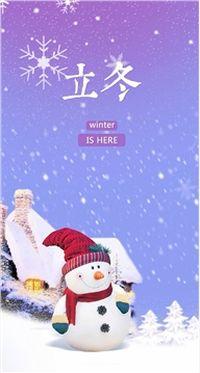立冬冬至雪花苹果安卓手机壁纸