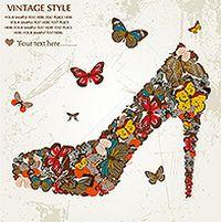 欧式复古蝴蝶鞋图案矢量素材