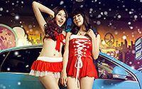 香车性感美女庆祝2014圣诞高清桌面壁纸