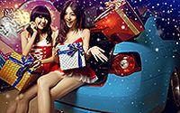 香车性感美女庆祝2014圣诞宽屏壁纸下载