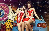 香车性感美女庆祝2014圣诞高清壁纸下载