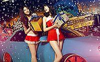 香车性感美女庆祝2014圣诞壁纸大全