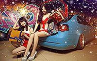 香车性感美女庆祝2014圣诞高清壁纸