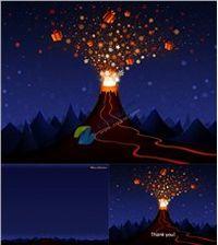 圣诞礼物火山喷发ppt模板免费下载