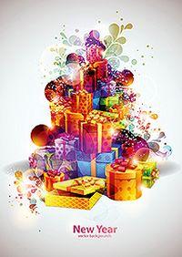 多彩礼物盒矢量素材