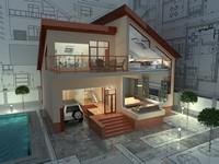 客厅建筑房子效果图图纸高清图片下载