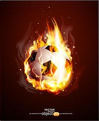 足球上的火焰矢量素材下载