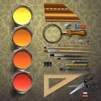 画笔涂料美工用品矢量素材下载