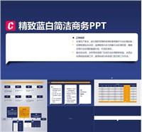 蓝白精致简洁个人简介ppt模板免费下载