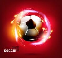 红色背景与足球矢量素材下载