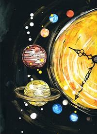 漫画钟表太阳系高清图片下载