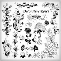 黑色玫瑰花矢量素材下载