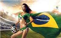 世界杯足球宝贝美女模特电脑高清桌面壁纸