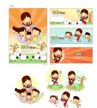 创意卡通一家人开心图标矢量素材下载