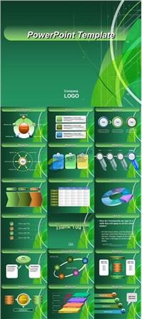 绿色欧美风格商务图表报告ppt素材免费下载