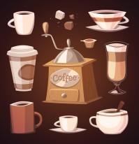 咖啡研磨机与各种咖啡杯矢量素材下载