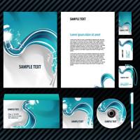 蓝色水波纹风格卡片信封CD封面设计矢量素材下载