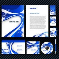 蓝色条纹封面设计矢量素材下载