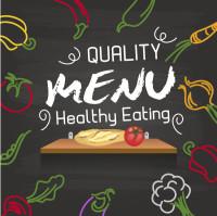 画板上蔬菜围绕的菜单封面矢量素材下载