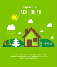 绿色小屋森林白云太阳矢量素材下载