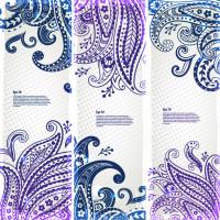 蓝色与紫色花纹设计矢量素材下载