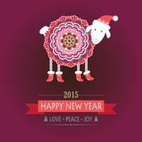 可爱小羊新年图标矢量素材下载
