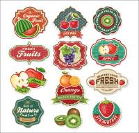 水果商标标签矢量素材下载