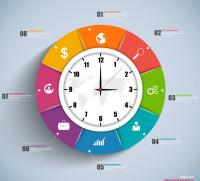 时钟比例分布图表矢量素材下载
