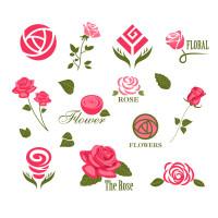 美丽玫瑰花朵图标矢量素材下载