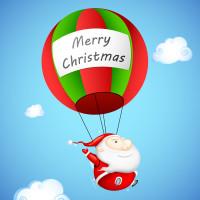 蓝天白云背景圣诞老人红绿相间热气球圣诞节日矢量图片下载