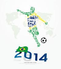 2014巴西世界杯足球人型踢球式矢量素材下载
