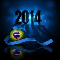 2014巴西世界杯足球蓝色模板矢量素材下载