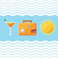 卡通杯子旅行箱太阳矢量素材下载