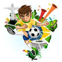 卡通足球人物背景矢量素材下载