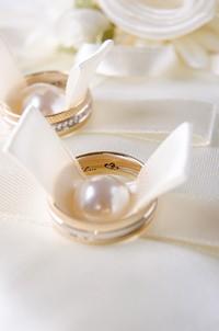 美丽精致珍珠与戒指高清图片下载