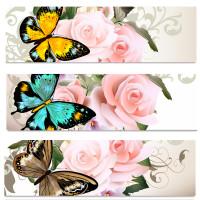 美丽蝴蝶与鲜花横幅矢量素材下载