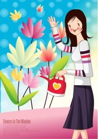 卡通花朵女子背景矢量素材下载