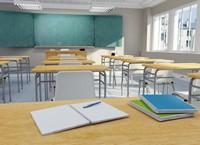 工整明亮教室课桌高清图片下载